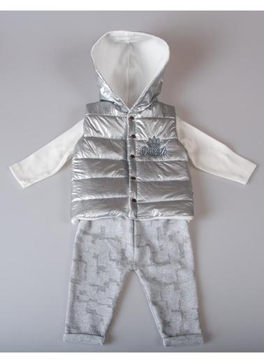 POKY Kız Bebek Çocuk 6-12 Ay Quenn Çıtçıtlı Kapüşonlu Yelek 3'Lü Takım Gümüş